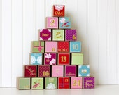 Colorful Oriental Style Advent Calendar Set of 25 Paper Boxes