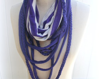 T-Shirt Necklaces Scarf, Boho Scarf, Retro Scarf, Purple White Scarf- By PIYOYO