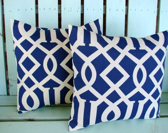 Set of 2 16x16 navy,natural modern outdoor/indoor fabric kirkwood admiral print, decorative pillow cover-gifts under 40-throw pillow