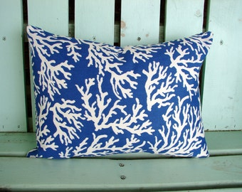 "New lumbar 12"" X 16"" blue,natural coral reef print Mill Creek outdoor indoor fabric- decorative pillow cover-throw pillow-accent pillow"