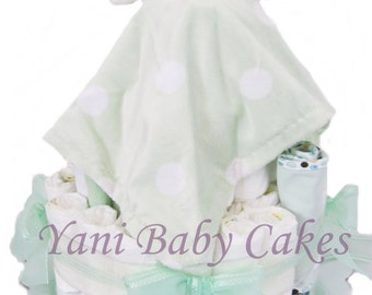 Unique Baby Shower Centerpiece / SALE / Teddy Bear Blanket Mint Baby Diaper Cake/ Baby Shower Gift & Unique Baby Gift