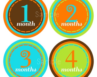 Set of 12 Month 2 Month Baby Milestone Urban Boy Collection Monthly Iron Ons