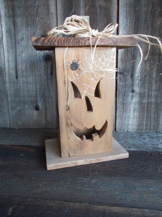 Halloween, Jack O Lantern, Tea Light, Salvaged, Wood, Rustic, Lantern, Lighted, Spooky, Decoration