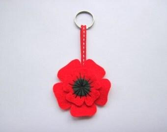 Poppy Keyring Felt - Remembrance Day - Poppy Day