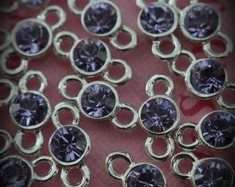 Violet Genuine Sterling Silver Plated Xilion Swarovski Crystal Connectors Link T500