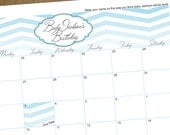 Baby Due Date Calendar - Chevron Ombre Customized Baby Shower Game - DIY Printable