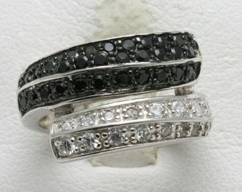 Vintage 925 Sterling Silver Black & White ring band pave set swirl wide Pre-Owned