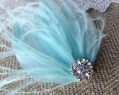 Bridal Feather Hair Piece, Tiffany Blue Feathers, Rhinestone, Fascinator