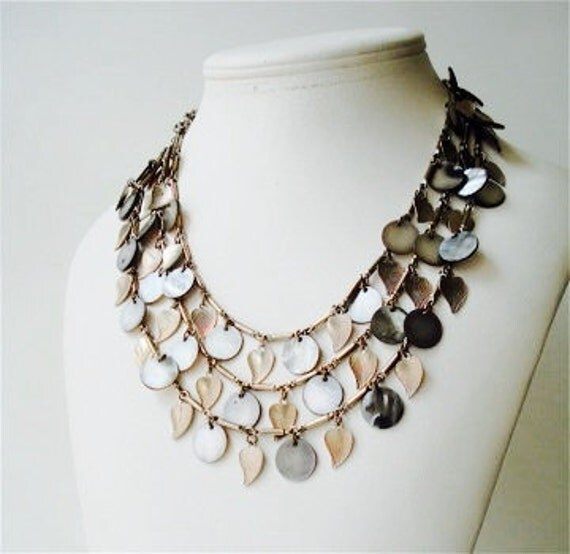 Black Lip Shell and Silver Leaf Charm Necklace and Clip on Earring Set - 1960s