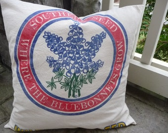 """Bluebonnets Pillow Cover - Texas Pillow Cover - Rustic Pillow Cover - Texas Bluebonnets -  Reproduction Feedsack Style - Farmhouse Chic 18"""""""