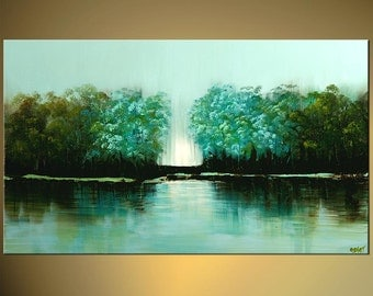 """Turquoise Landscape Print Trees on Water Lake Embellished and Ready to Hang, Painting by Osnat - 40""""x24"""""""