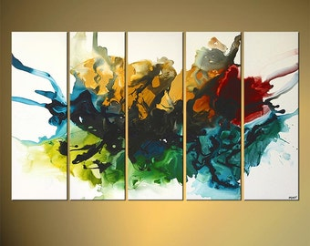 "Original Contemporary Abstract Painting, Colorful Acrylic Painting on Canvas by Osnat - MADE-TO-ORDER - 60""x36"""