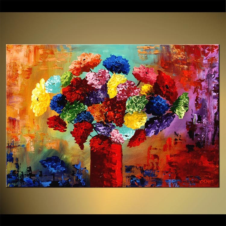 Original contemporary abstract floral painting by osnatfineart for Modern flower paintings