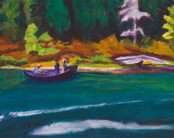 Drifting the Middle Fork Willamette River Original Painting Gouache Paper 11x14 in Matted to 16x20