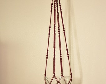 """Hand Crafted Macrame Plant Hanger- Burgundy 52""""- 54"""" (Available in all colors)"""