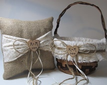 Rustic Flower Girl Basket and Ring Bearer Pillow - Burlap and Ivory Lace - Personalized For Your Special Day