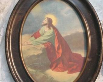 Vintage Pair Religious Prints Oval Frames