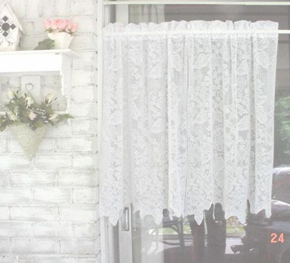 Vintage lace curtains scalloped Farmhouse by EstateSaleTreasure