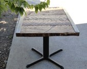 Customizable Restaurant Dining Table, Steel Angle Iron, Reclaimed Antique Barn Wood, Steel Pedestal Base