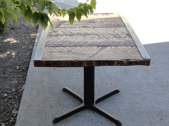23 x 33 restaurant dining table 2 person small raw steel pedestal - Small two person dining table ...