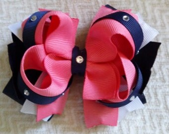 Pink and navy deluxe bow