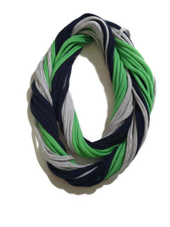 12th Man Seattle Seahawks Loopy Infinity Scarf - Upcycled from Recycle Tshirts - Blue Green Gray Football Jersey Necklace