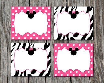 INSTANT DOWNLOAD - Pink zebra print Minnie Mouse Folding Food Tent Label Dinner Buffet Cards or Tags