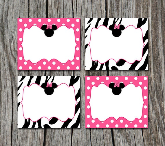 INSTANT DOWNLOAD Pink Zebra Print Minnie Mouse Folding Food