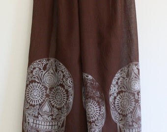 Sugar Skull Hand block printed Indian cotton scarf/shaw in chocolate brown