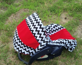 Red with black white chevron stripe baby car seat cover infant seat cover slip cover Graco fit or evenflo