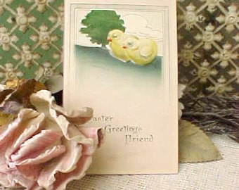 Sweet Vintage Easter Postcard with Little Chicks