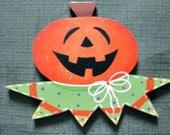 pumpkin head, halloween, ornament, handpainted, glitter magnet, wood