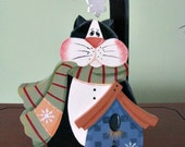 Cat, birdhouse, cardinal, winter, handpainted, snowflakes