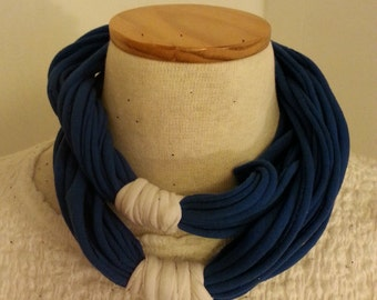Simple Recycled T Shirt Scarf Royal Blue and White