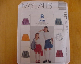 UNCUT McCalls 8857 Pattern, Young Girl Skirt, 3 Designs, Multi Size 4-6