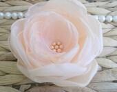 Peach flower in handmade, Pastel Orange Bridal Bridesmaids hair shoe clip, Wedding dress sash accessory, Flower girls Birthday gift, Brooch