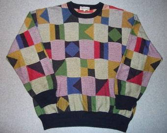 1980s 80s 90s Hipster Square Triangles Geometric Sweater Abstract Tacky Gaudy Ugly Christmas Party X-Mas Warm 52 L Large Extra Large XL