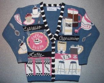 Barista Coffee House Sweater Beans Cappuccino Espresso Latte Sugar Vanilla Tacky Gaudy Ugly Christmas Party X-Mas S Small