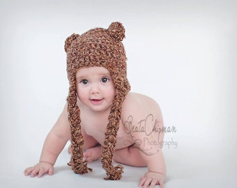 Crocheted Chunky Baby Bear Earflap Hat Braided Tassles Newborn Photo Prop 6-12 Months
