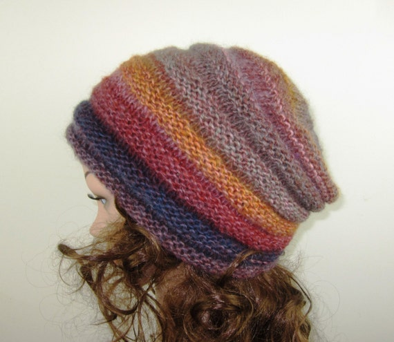 Hand Knit Marmalde and Jam Beanie -  Soft  Hat in Multi-Tones of Butterscotch, Plum, Red- Warm Winter Fashion -  Accessories
