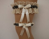 Wedding Garter Set - Army, Navy, or Air Force Garter Set with Ivory Lace;  Satin Ribbon and a Double Heart Charm ~Military Discount~