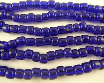 """22"""" spectacular large indigo cobalt blue glass beads African trade Czech AA-0049"""