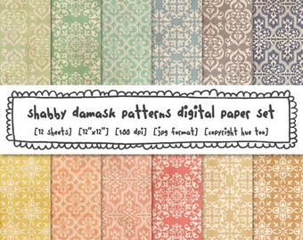 shabby damask digital backgrounds, ornate flourish patterns grunge texture, vintage pastel digital paper instant download 530