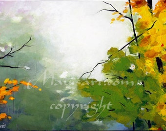 """Title """"Mist II""""  (36""""x 24"""") Original Abstract Trees painting FALL"""