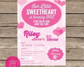 Printable Little Sweetheart Birthday Invitation - Lovely Little Party