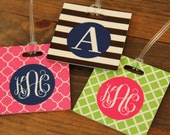 Monogrammed Square Bag Tag - SET OF 2 - Many Colors and Designs Available