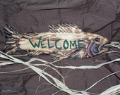 chainsaw carving/ fish carving/ rustic welcome sings/ rustic decor/ rustic log furniture/ rusitc decor/ cabin signs