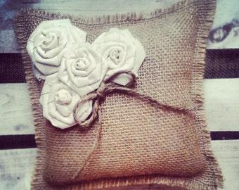"8"" x 8"" Natural Burlap Ring Bearer Pillow w/ Cream Muslin Rosettes/Jute Twine Detail- Barn Wedding/Rustic/Country/Shabby Chic/Folk/Wedding"