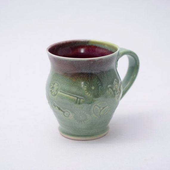 Grass Green and Purple Steampunk Mug Tea Cup