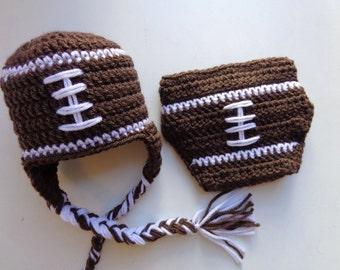 Newborn Crochet Football Hat and Diaper Cover